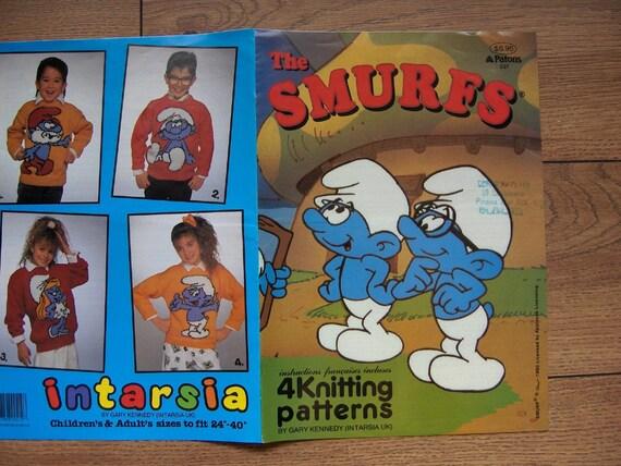1990 Intarsia Knitting patterns SMURFS Papa Smurf Brainy