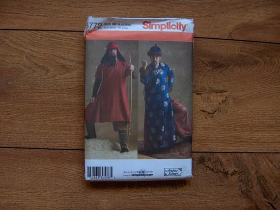 2007 simplicity pattern 3772 Genghis Khan Mongolian Warrior Costume sz 46-52 uncut