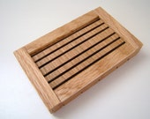 Handcrafted Wooden Soap Dish - Mahogany with Red Oak Trim
