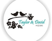 Loving Birds Theme - Personalized Circle Stickers - Set of 4 sheets - Envelope Seal - Bridal Shower Labels - Address Labels - Wedding Labels