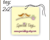 100 Custom Hang Tags - 2x2inch - Personalized