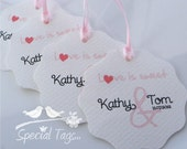 Custom Wedding Tag - Personalized 2.25inch Circle Tags with Wavy Edges - 90 tags - Thank You - Love is Sweet Tags - Bridal Shower Favor Tags