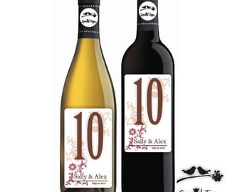 18 Wine Bottle Labels - Custom Wedding Labels - Wedding Table Numbers - Anniversary Party Labels