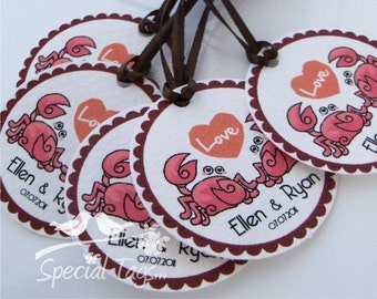 Wedding Favor Tags - Crabs Wedding Theme - Personalized 1.5inch Circle Tags - 120 tags - Bridal Shower Favor Tags - Anniversary Party Tags