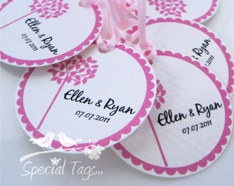 Personalized 1.5inch Circle Tags - 120 tags - Thank You - Love - Weddings - Bridal Shower - Personalized