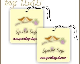300 Custom Hang Tags - Price Tags - Jewelry Tags - Business Logo Tags - 1.5x1.5inch - Personalized Favor Tags - Custom Wedding Tags