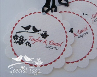 Personalized 2inch Circle Tags with Scalloped Edges - 150 tags - Thank You - Love - Weddings - Bridal Shower - Personalized