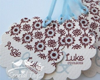 Wedding Tags - Personalized 2inch Circle Tags with Scalloped Edges - 100 tags - Thank You Favor Tags -Bridal Shower Tags - Personalized