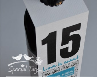 25 Table Number Tags - Thank You - Love - Weddings - Bridal Shower - Anniversary