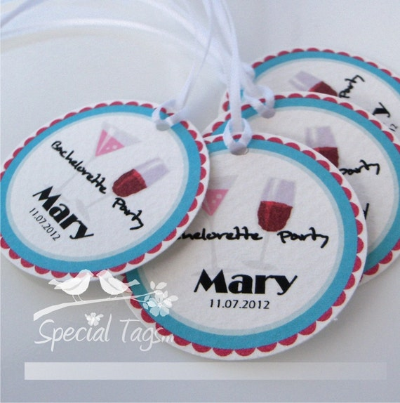 Personalized 1.75inch Circle Tags - 60 tags - Thank You - Love - Weddings - Bachelorette Party -Bridal Shower - Personalized