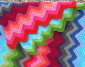 Lg. Fire and Ice Crocheted Afghan Blanket - Made to order item.