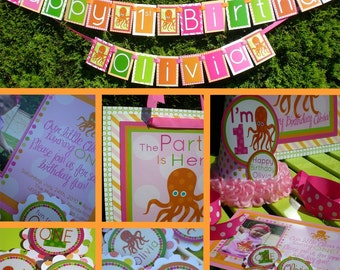 Octopus Birthday Party Decorations Fully Assembled Pink Orange Green