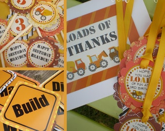 Construction Birthday Party Decorations Fully Assembled Yellow Orange