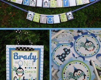 Penguin Birthday Party Decorations Blue Green Fully Assembled