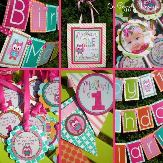 Girly Owl Birthday Party Decorations Fully Assembled