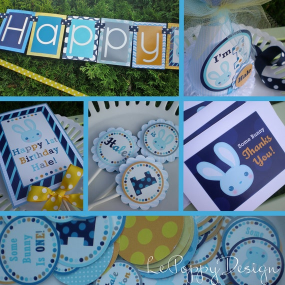 Blue Bunny Birthday Party Decorations Fully Assembled