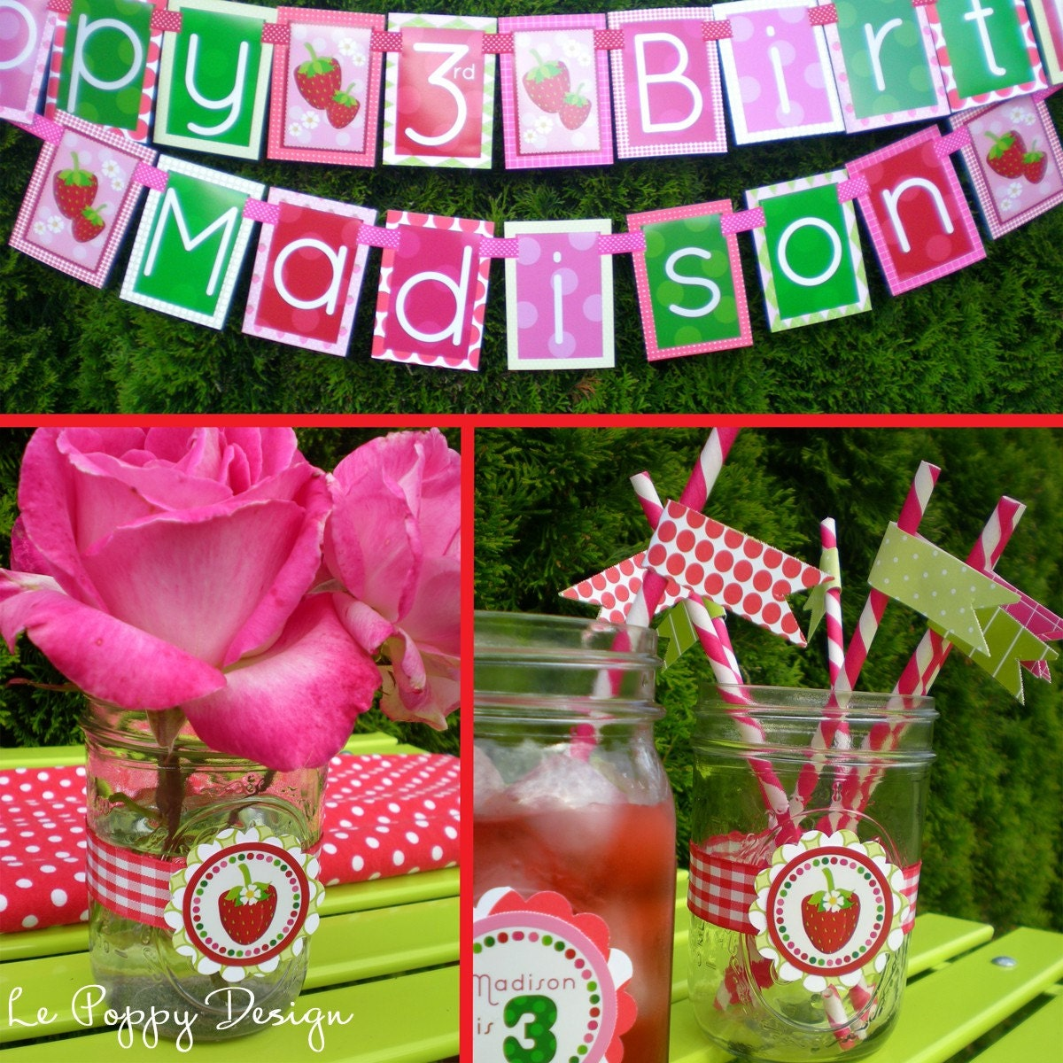 Strawberry Birthday Party Decorations Fully by PartyGloss ...