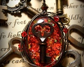 Skeleton Key Necklace Red Wire Wrapped Glitter Pendant