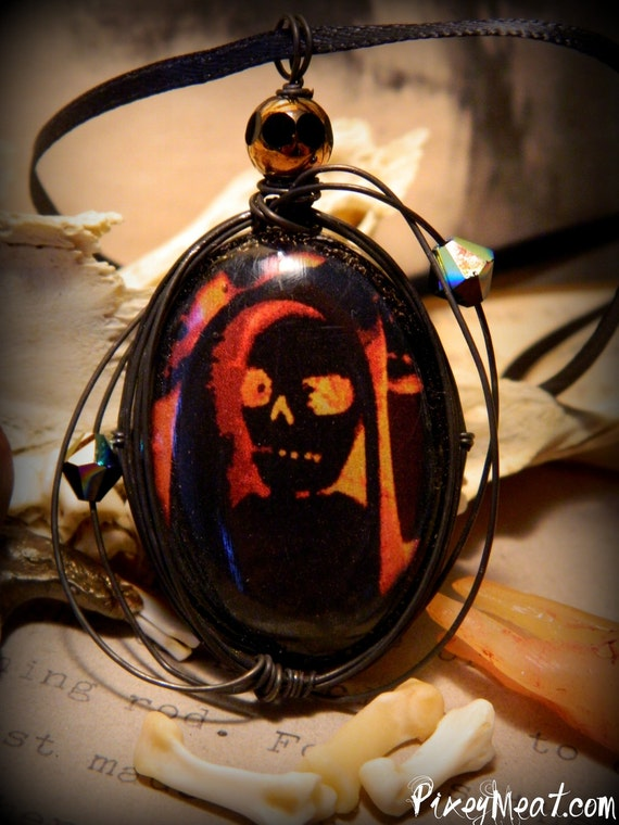 Creepy Voodoo Skeleton Wire Wrapped Pendant Necklace (ON SALE WAS 21)