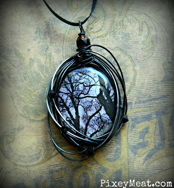 Creepy Dead Tree Necklace Black and White Gothic Wire Wrapped Pendant Necklace