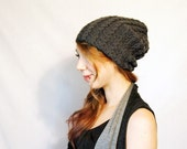 Tiny Cable Beanie in Dark Grey