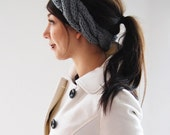 Braided Maiden Headband Ear Warmers in Light Grey