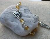 Lotus Flower Crystal Bracelet - Gift of Encouragement - Angel Wing For Strength