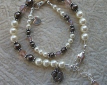 Mommy And Baby Matching Pearl & Crystal Bracelets - Swarovski Vintage Rose And Brown