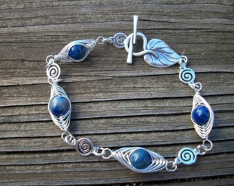 Denim Lapis Leaf Bracelet