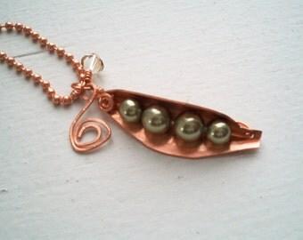 Sweet Peas - Handformed Peapod - Handstamped - Swarovski Crystal