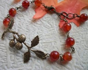 Carnelian Berry Twig Bracelet - Antique Brass