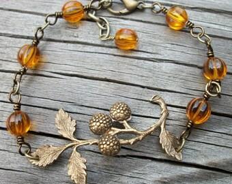 Amber Glass Berry Twig Bracelet - Antique Brass