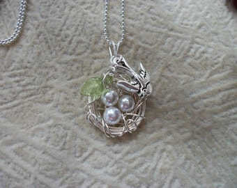 Silver Momma Sparrow Bird Nest Necklace - Great Mother's Day Gift