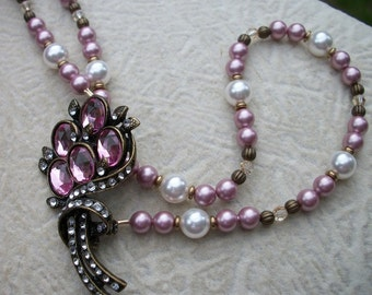 Prudence - Vintage Rhinestone Antique Brass Pearl Necklace