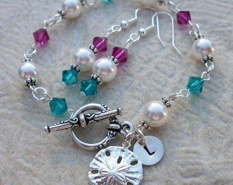 Sand Dollar and Pearls Bracelet and Earring Set - Beach Or Island Destination Wedding - Perfect For Bride Or Bridal Party