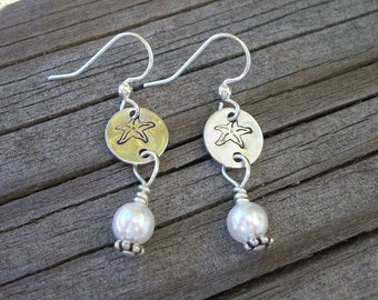 Starfish Pearl Handstamped Earrings - Island or Beach Theme - Perfect for Bridal Party Gifts - Matchs Perfectly With Starfish Bangle