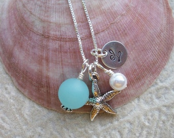 Island or Beach Destination Wedding - Bridal Party Starfish, Pearl, Sea Glass Bead and Stamped Initial Sterling Silver Necklace