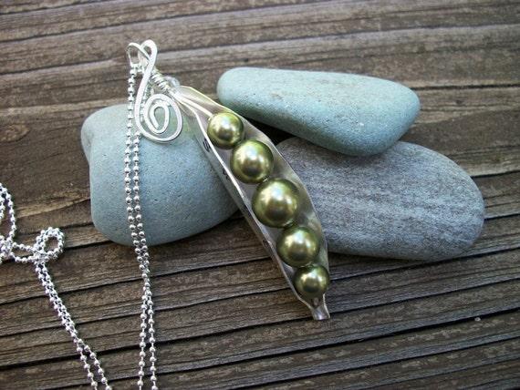 Sterling Sweet Peas - Swarovski Pearls - Peas In A Pod