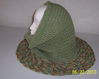 Frosty Green and multi colored beige, brown, green, and blue convertible cowl