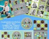 Party Printable Pack Little man turns one Ties and polka dots Kit First Birthday invitations, favors etc