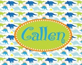 Personalized Dinosaur Toddler placemat perfect for food or play