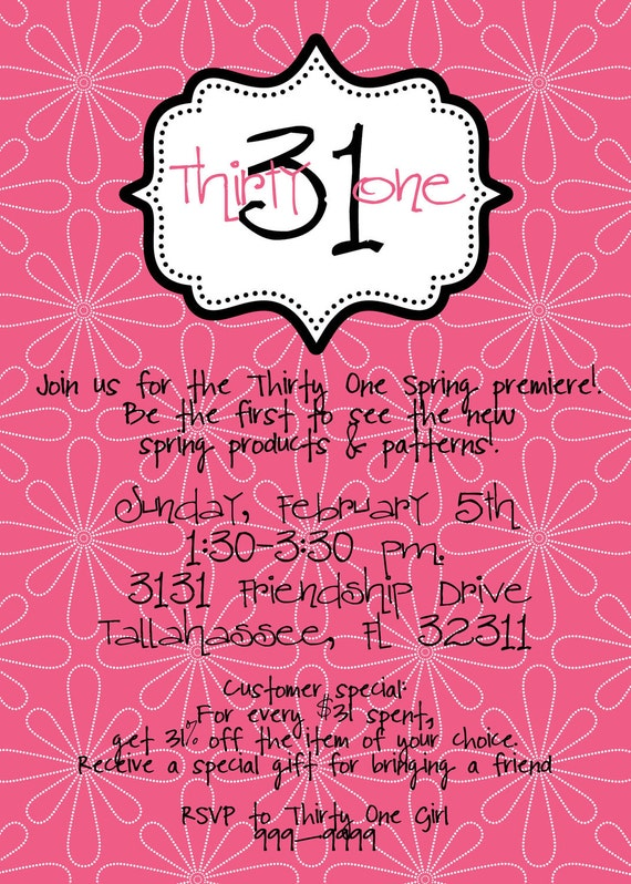 Items similar to Customized Invitations designed for ThirtyOne – Thirty One Party Invites