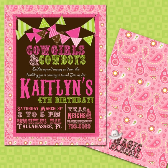 DIY Printable doublesided Cowgirl Birthday Invitations