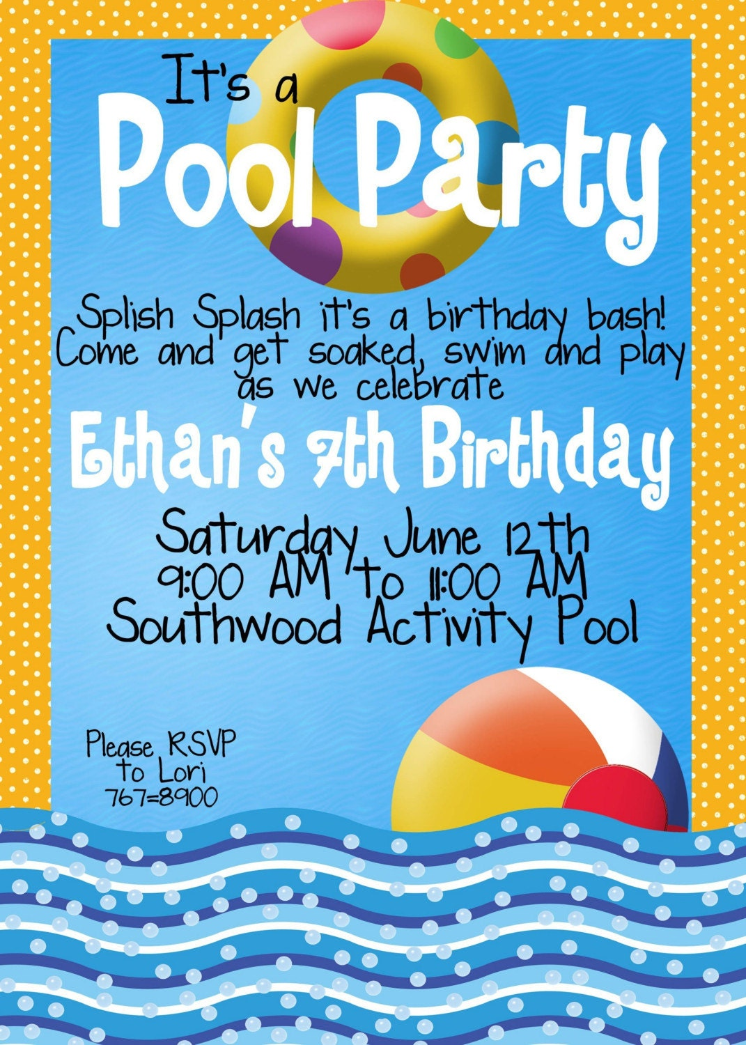 pool party invitations by magicbymarcy on etsy