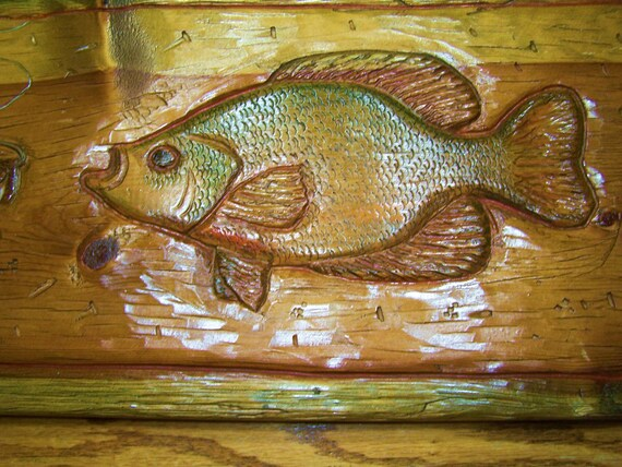 Items similar to hand carved rustic wood fish wall art on etsy for Fish wood carving