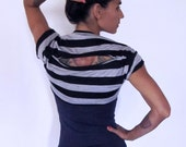 On sale!! Cropped tee bolero shrug - Yoga top - yoga clothes - dance wear - fitness - gym. Black and grey stripe size SM or ML