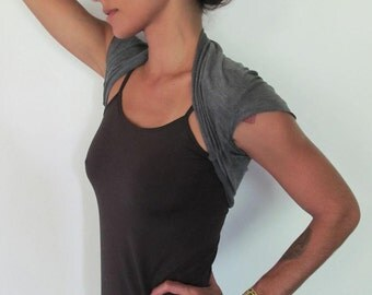 Cropped tee bolero shrug - Yoga top - yoga clothes - dance wear - fitness - gym. Charcoal, stripe, stone, plum. size SM or ML