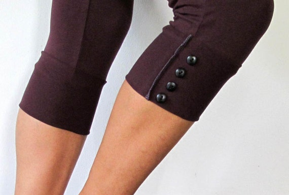 Danda - Cotton lycra leggings, with button up detailing. Yoga pants - dance - fitness wear. Burgundy, size SM and ML
