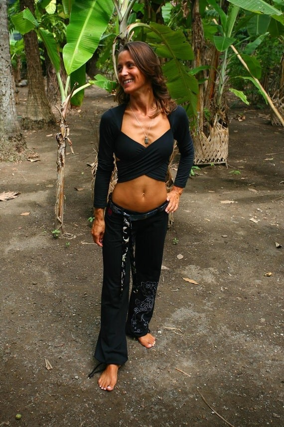 Kali - Multi-way bolero style wrap around top. Black,size S