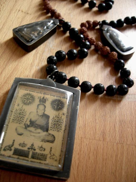 DISCOUNT 70% - Lava stone and Rudraksha seed 72 bead Mala necklace with Buddha and Monk amulets. Meditation - yoga - prayer beads.